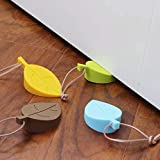 4Pcs Door Stopper Wedge Finger Protector, Silicone Door Stops, Cute Colorful Cartoon Leaf Style Secure Flexible Decorative Finger Protector, for Home and Office(Green, Yellow, Blue, Brown)