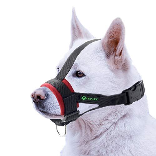 ILEPARK Bozal Suave para Perros Nylon Grandes Pequeños Medianos, Previene Mordidas, Ladridos y Que Mastiquen, Bozal Lazo Ajustable(L,Rojo)