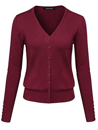 Basic Solid V-Neck Button Closure Long Sleeves Sweater Cardigan Pink L