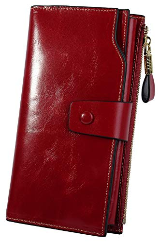YALUXE Portafoglio Vera Pelle RFID Blocco di Grande Capacità Pochette e Clutch di Lusso della Porta carte di credito Borsa per donne