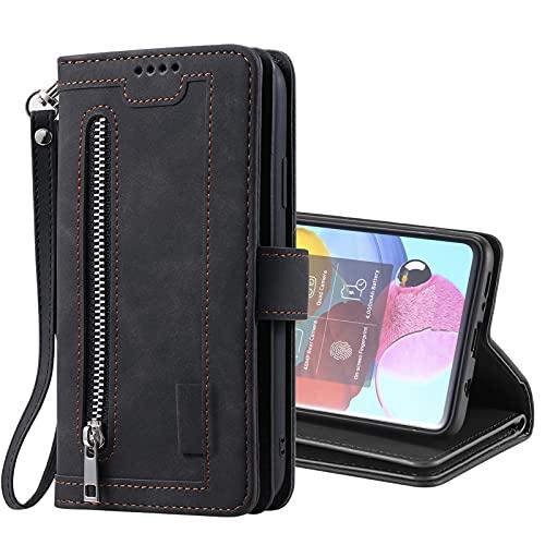 SCRENDY Funda para Samsung Galaxy S21 Ultra 5G, Carcasa Billetera con 9 Tarjetero Fundas Wallet Case para Mujeres con Libro Tapa con Cuero Premium Magnético-Negro