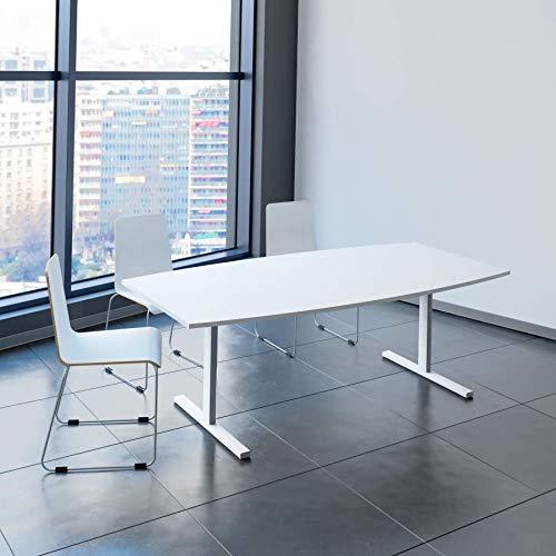 Weber Büroleben GmbH Easy Konferenztisch Bootsform 200x100 cm Weiß Besprechungstisch Tisch, Gestellfarbe:Weiß
