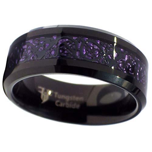Сharm - Tungsten Black Celtic Dragon Ring Purple Carbon Fiber 8mm Womens Mens Size 15- Ideal Gift for Birthday Valentine Christmas