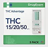 5 Pack - DrugExam THC Advantage Made in USA Multi Level Marijuana Home Urine Test. Highly Sensitive Marijuana THC 3 Level Drug Test Kit. Detects at 15 ng/mL, 20 ng/mL and 50 ng/mL (5)