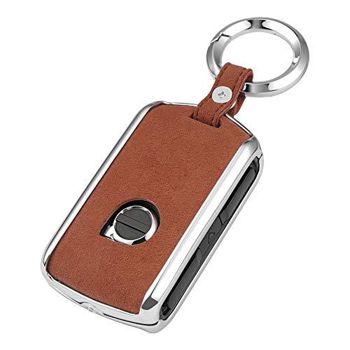 ontto Coque de clé de voiture en alliage de zinc et cuir pour Volvo xc60 xc90 s60 s80 s90 v90 xc40 avec porte-clés Marron