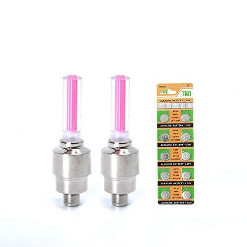 ZGHYBD 2er Pack Wasserdichter Lichtstreifen Led-Radleuchten Flash-Reifen Radventilkappe Licht FüR Auto Fahrrad MotorräDer ZubehöR Pink