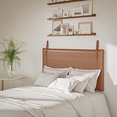 Unknown1 Upholstered Wall Hanging Panel Headboard Brown Transitional Leather Includes Hardware