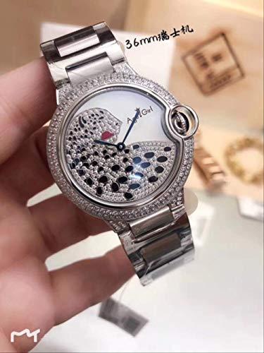 LKYH Klassische Armbanduhr Quarz Damenuhren Mode Casual Sport Saphir Roségold Silber 2 Row Diamond Lünette Uhr Schwarz WeißVollsilber