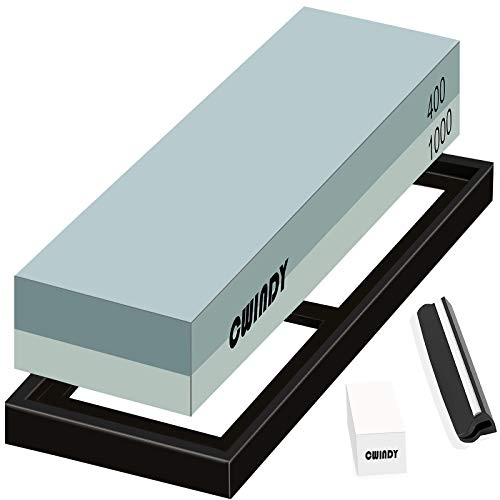 CWINDY 400/1000 Grit Sharpening Stone Whetstone Knife Sharpening Stones Waterstones Wetstones Wet stones Knife Sharpener Stones Set Angle Guide, Fix Stone Included