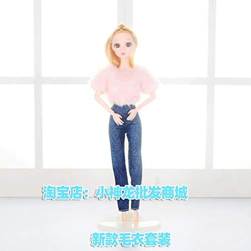 CPFYZH Babykleidung Plüsch Mantel Rock Prinzessin Puppe Kostüm Kleid Einzelspielzeug-Neuer Pullover Anzug_9 Gelenkkörper 【Kleidung + Puppe
