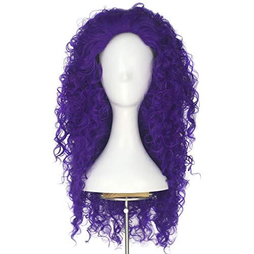 Yan Dream Long Dark Orange Spiral Afro Curly Girl's Princess Cosplay Wigs Halloween Cos Wig (Purple)