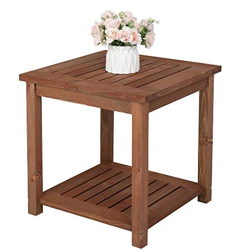 WIVAYE Patio Side Table, Outdoor Squares Side Table, 2 Tier Wooden Side Table, Small Patio End Table Outdoor Bistro Table for Garden Lawn Deck Porch Pool