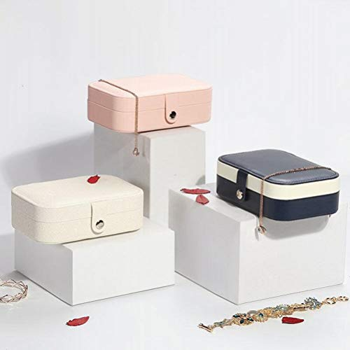 Joyero organizador de joyas de viaje caja de almacenamiento doble pendientes collar anillo anillo caja de desechos titular de tejido mujeres-gris oscuro