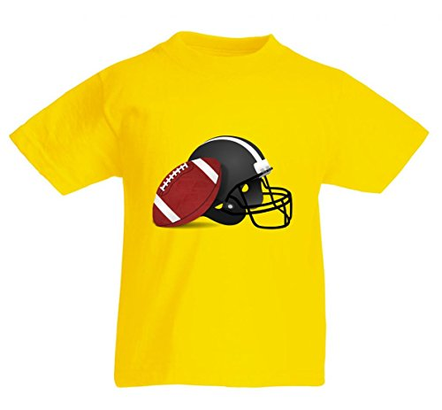 T-Shirt FUßBALL- Helm- Sport- Football- America- USA- American Sports in Gelb für Herren- Damen- Kinder- 104-5XL