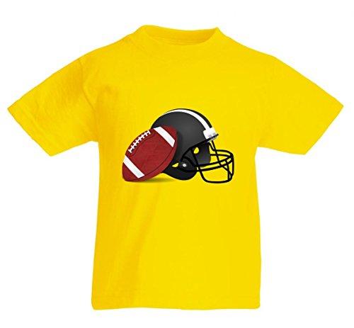T-Shirt FUßBALL- Helm- Sport- Football- America- USA- American Sports in Gelb für Herren- Damen- Kinder- 104-5XL