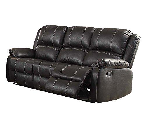 ACME Zuriel Black Faux Leather Reclining Sofa