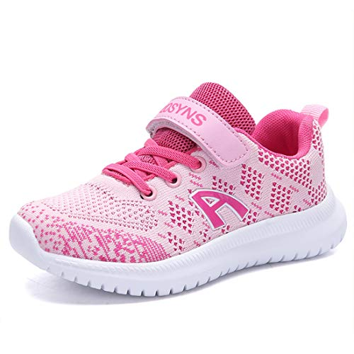 ZOSYNS Mädchen Schuhe Sportschuhe Mesh Atmungsaktiv Laufschuhe Outdoor Sport Sneaker Turnschuhe Klettverschluss Wanderschuhe Hallenschuhe für Kinder Rosa 30