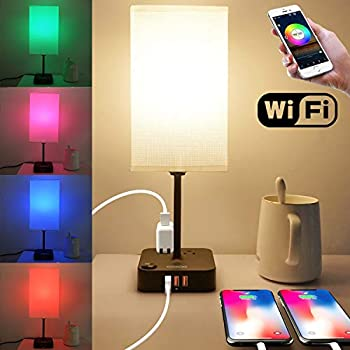 COZOO WiFi RGB & USB Bedside Table Lamp with 3 USB Charging Ports and 2 Outlets Power Strip LED Light Bulb Dimmable Music Sync RGB Color Changing Light for Party Home/Bedroom/Living Room