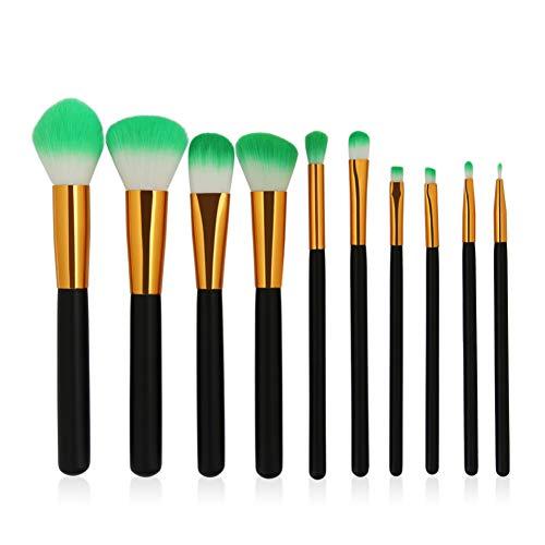KDBHM Pinceau de Maquillage 6-12 Pcs/Pack Pinceaux De Maquillage Ensemble De Cosmétiques Fondation Poudre Blush Ombre À Paupières Mélange Lèvres Maquillage Beauté Brosse Kits D'outils,10pcs Noir