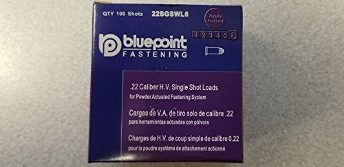 BluePoint Fasteners .22 Caliber High Velocity Single Shot Straight Loads for Powder Actuated Tool Level 6 (Purple Load)