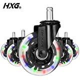 Hivexagon Office Chair Caster Set of 5 Rubber Replacement Wheels, Heavy Duty Universal Quiet Rolling Casters Fit Standard Office Chair for Hardwood Floors, Tiles and Carpet