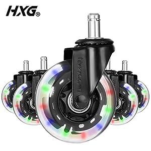 Hivexagon Silla de Oficina giratorias 5 x Ruedas giratorias de Goma de Repuesto, Heavy Duty Tranquilidad Universal del…