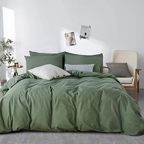 JELLYMONI Green 100% Washed Cotton Duvet Cover Set, 3 Pieces Luxury Soft Bedding Set with Zipper...