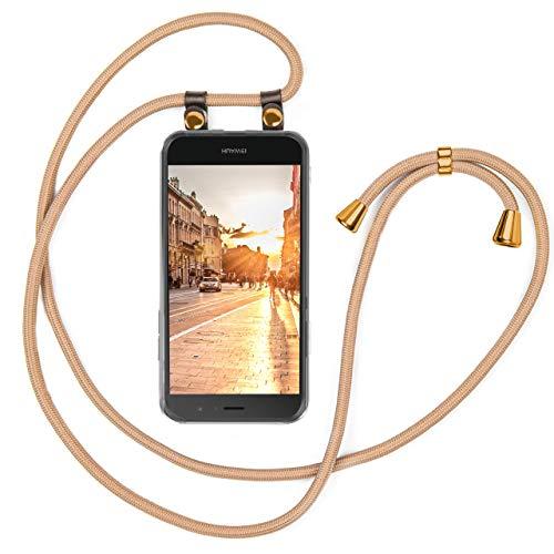 moex Handykette kompatibel mit Huawei P9 Lite - Silikon Hülle mit Band - Handyhülle zum Umhängen - Case Transparent mit Schnur - Schutzhülle mit Kordel, Wechselbar in Gold