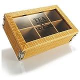 com-four® Caja de Almacenamiento rústica para bolsitas de té - Caja de té Estilo casa de Campo con 6 Compartimentos y Ventana de visualización - Caja de bolsitas de té (Nueva York - marrón)
