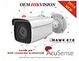 4MP AcuSense PoE IP Camera - Compatible with Hikvision DS-2CD2T46G1-4I True WDR H.265+ Outdoor Bullet Network Camera Human And Vehicle Detection False Alarm Filter By Target Classification 2.8mm Fixed