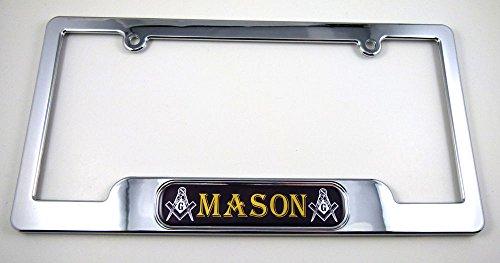 Car Chrome Decals LPFC-Mason Mason, Masonic License Plate Frame Dome Emblem Freemasons Plastic Chrome Plated