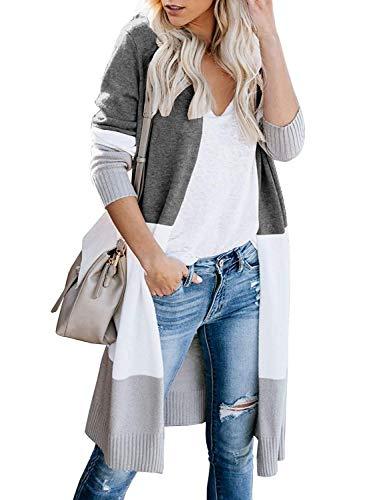 WNEEDU Womens Open Front Long Sweater Cardigans Boho Long Sleeve Color Block Knit Lightweight Coats (M, Dark Grey)