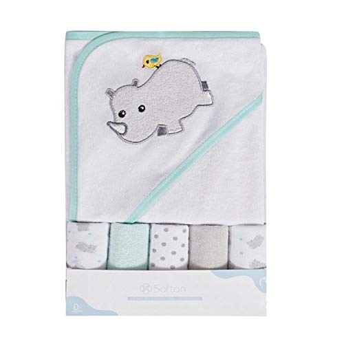 Toalla de baño con capucha y toallitas para bebé