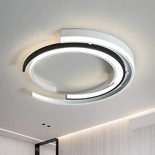 Modern LED Ceiling lamp Round Chandelier Embedded Installation LED Ceiling Lights for Kitchen,Dining Room, Bedroom dimmable with Remote Control,3000k-6000k,White+Black Chandelier