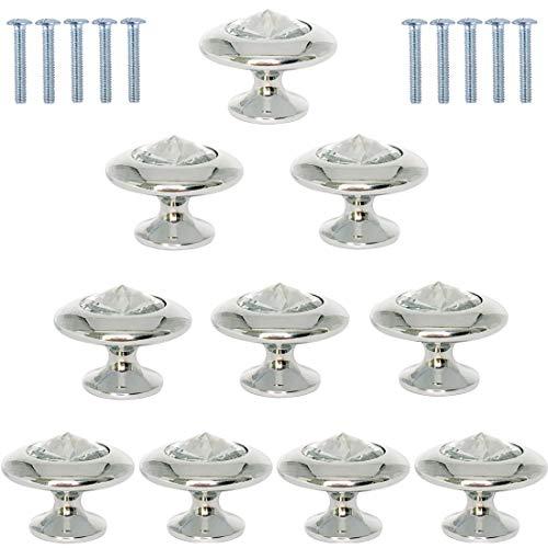 30MM Schubladenknöpfe Kommode Möbelknöpfe Kristall Zinklegierung Kristallglas Moebelknauf Griff Garderobe Ziehgriffe Möbelgriff 10 Stück