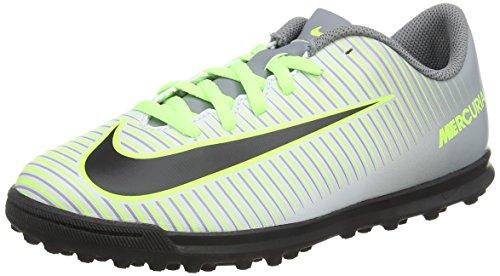Nike Mercurialx Vortex III Tf, Scarpe da Calcio Unisex-Adulto, Argento (Pure Platinum/Black-Ghost Green), 37.5 EU