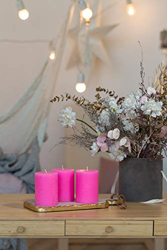"""Set of 3 Pink Pillar Candles 3"""" x 4"""" Rustic Unscented Dripless Fuchsia Coral for Weddings Home Decoration Church Restaurant Spa Florist"""