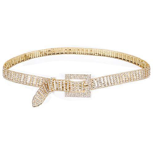 Diamond Belt for Women Sexy Waist Chain Rhinestone Crystal Sashes Wedding Belt Bling Bridesmaid Dress (Rose Gold)