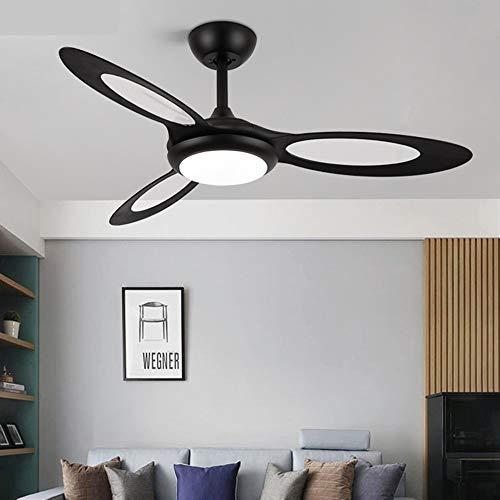 OUPPENG Lámpara de Ventilador Refrigeración de aire DC Ventilador de techo moderno con luces Control remoto Plástico Plástico de 44 pulgadas Ventilador Lámpara Dormitorio Detalle Fans Reversible