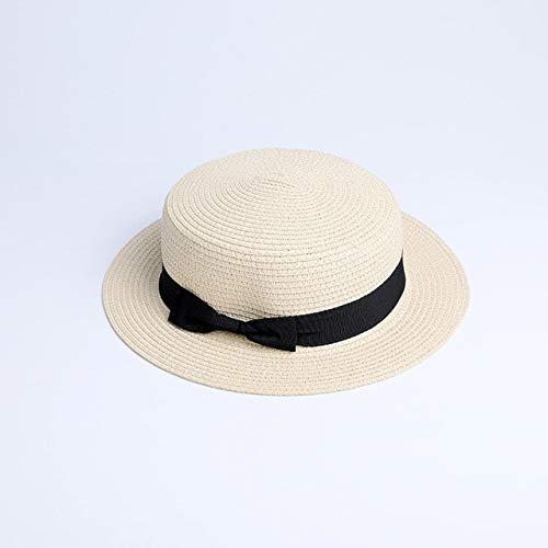 Sombrero de Paja Plano para el Sol para Padres e Hijos, Sombrero de canotier, Sombreros de Verano con Lazo para niñas, para Mujeres, Sombrero de Paja Plano para niños y playa-a13-adult 56-58cm