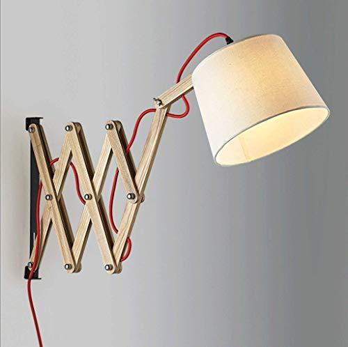 Led-wandlamp woonkamer slaapkamer nachttafellamp uitschuifbare houten wandlamp
