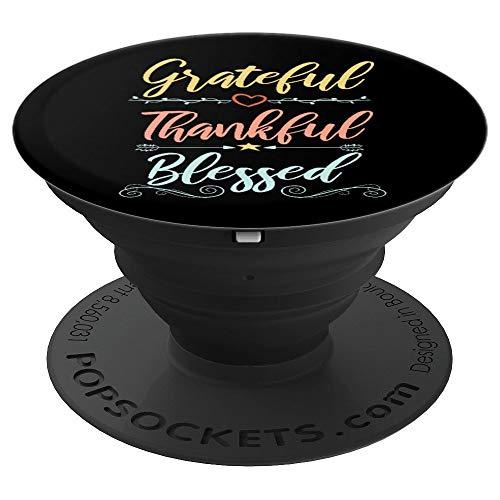 Dankbar und Gesegnet - Christliche Geschenkideen - PopSockets Ausziehbarer Sockel und Griff für Smartphones und Tablets