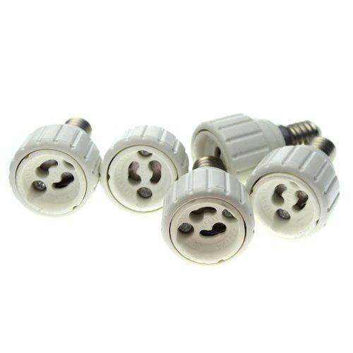 5 Stück Lampensockel Adapter E14 auf GU10 für LED Lampen