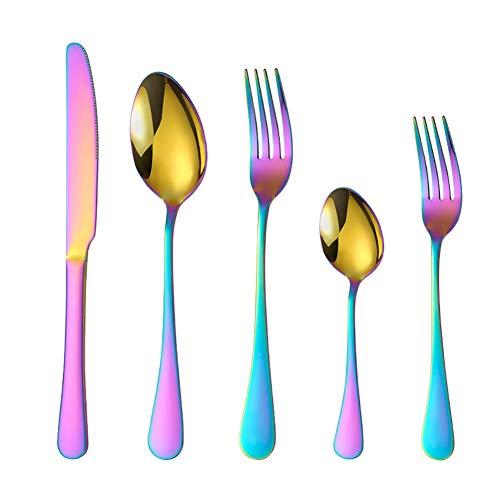 40 Stück Titanium Regenbogen Farbe Plated Besteck, 40 Stück Bunte Besteck Set, Multi Farbe Besteck Set Besteck, Service Für 8 (Glänzend Rainbow),40 pcs