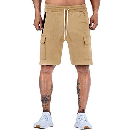 Joggingshorts Herren Taschen Kordelzug Sportshorts Stretch Freizeit Fitness-Shorts Kurze Pants GreatestPAK,Khaki,XL