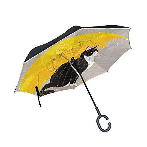 ISAOA un Paraguas Grande Puede Paraguas Resistente al Viento Doble Capa invertido Plegable Paraguas para Lluvia de Coche al Aire Libre Uso, Mango en Forma Paraguas Gato Negro en la Lluvia Paraguas
