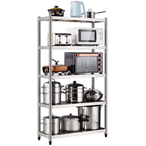 taille : 60 cm /Étag/ère de cuisine support de rangement en acier inoxydable /Étag/ère de rangement pour micro-ondes sur pied multi-niveau