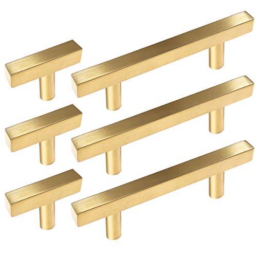 20 Pack Sunriver Hollow Brushed Brass Golden Square Bar Cabinet Handles Pulls 10pcs Gold Hardware Cabinets Pulls 5' and 10pcs Stainless Steel 2' Cabinet Handles T Bar Pulls for Bathroom