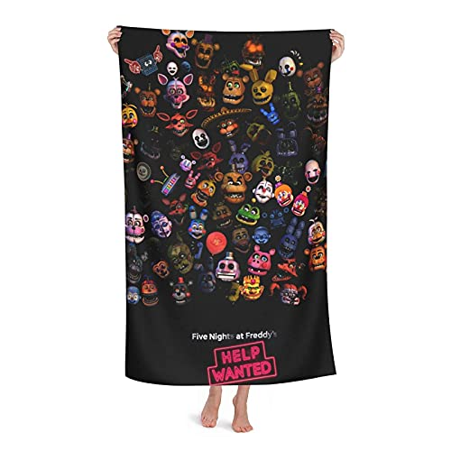 xiangli Five Nights at Freddy's Toalla de baño de secado rápido para adultos Toalla de playa de microfibra súper absorbente Fitn Yoga Viajes Camping Gimnasio Piscina Toallas 32 x 132 cm