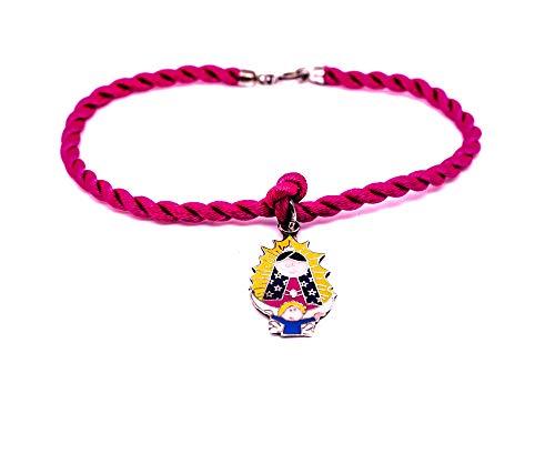 Kokomorocco Pulsera con Medalla Virgen de Guadalupe Mexicana de Plata de Ley esmaltada, cordón de Seda Trenzado, Color Rosa Fucsia, Pulsera para Mujer o niña Regalos Originales